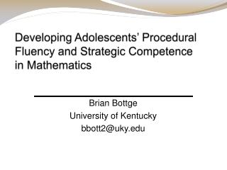 Developing Adolescents' Procedural Fluency and Strategic Competence in Mathematics