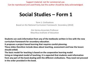 Social Studies – Form 1
