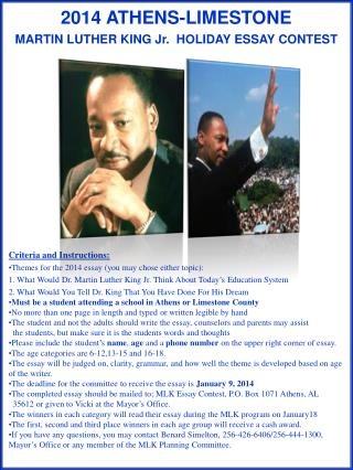 2014 ATHENS-LIMESTONE                     MARTIN LUTHER KING Jr.  HOLIDAY ESSAY CONTEST