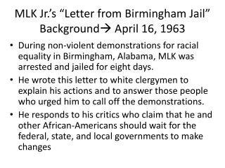 "MLK  Jr.'s  ""Letter from Birmingham Jail"" Background  April 16, 1963"