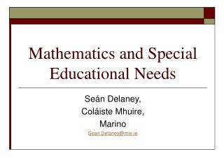 Mathematics and Special Educational Needs