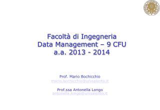 Facoltà di Ingegneria  Data Management – 9 CFU a.a. 2013 - 2014