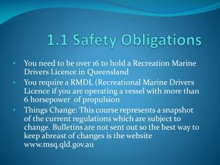 1.1 Safety Obligations
