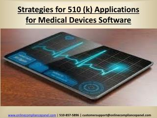 Strategies for 510 (k) Applications for Medical Devices Soft