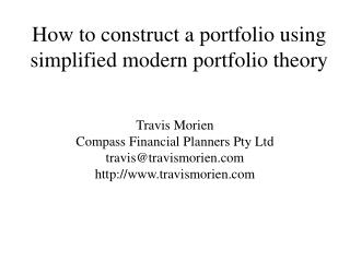 How to construct a portfolio using simplified modern portfolio theory