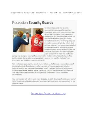 Reception Security Services - Reception Security Guards