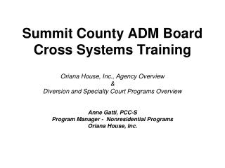 Summit County ADM Board Cross Systems Training