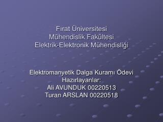 Fırat Üniversitesi  Mühendislik Fakültesi Elektrik-Elektronik Mühendisliği
