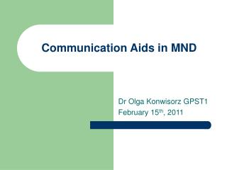 Communication Aids in MND