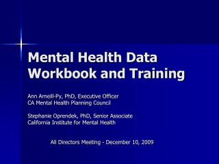 Mental Health Data Workbook and Training