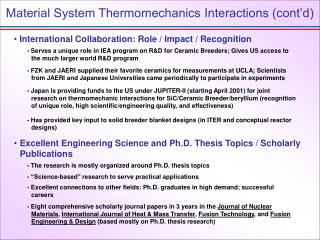 Material System Thermomechanics Interactions (cont'd)