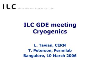 ILC GDE meeting Cryogenics