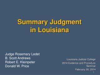 Summary Judgment  in Louisiana