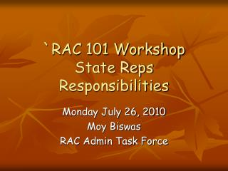 `RAC 101 Workshop State Reps Responsibilities