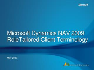 Microsoft Dynamics NAV 2009 RoleTailored Client Terminology
