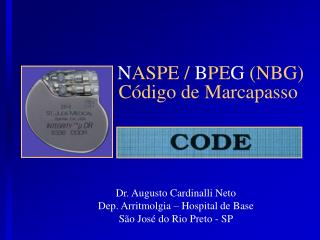 N ASPE /  B PE G  (NBG) Código de Marcapasso