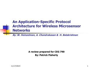 A review prepared for CEG 790 By: Patrick Flaherty