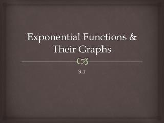 Exponential Functions & Their Graphs
