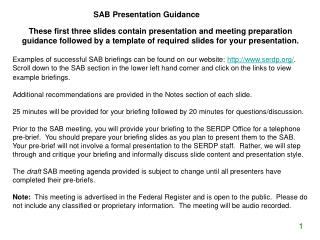 SAB Presentation Guidance