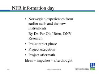 NFR information day