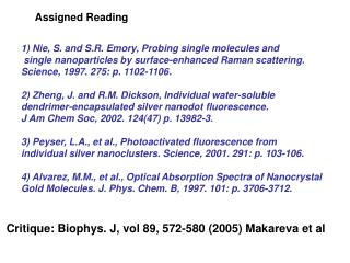 1) Nie, S. and S.R. Emory, Probing single molecules and