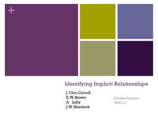 Identifying Implicit Relationships