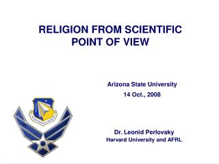 RELIGION FROM SCIENTIFIC  POINT OF VIEW