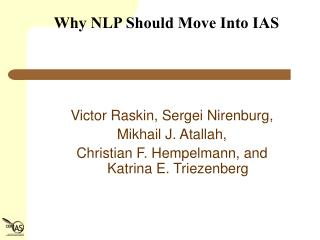 Why NLP Should Move Into IAS