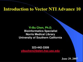 Introduction to Vector NTI Advance 10