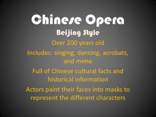 Chinese Opera Beijing Style