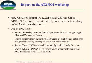 Report on the AT2 NO2 workshop