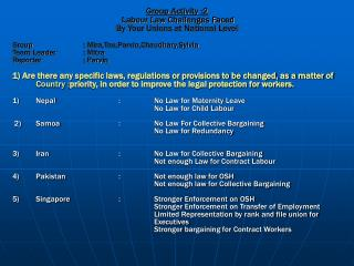Group Activity :2  Labour Law Challenges Faced  By Your Unions at National Level