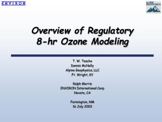 Overview of Regulatory  8-hr Ozone Modeling