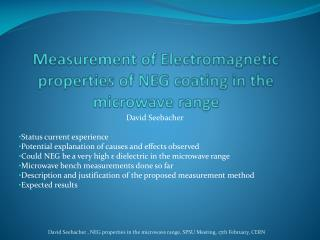 Measurement of Electromagnetic properties of NEG coating in the microwave range