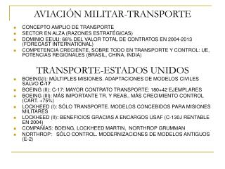 AVIACI�N MILITAR-TRANSPORTE