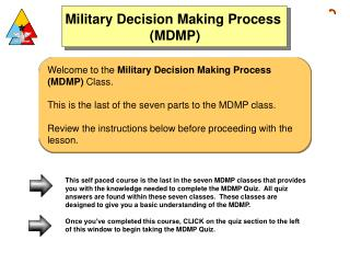 Welcome to the  Military Decision Making Process (MDMP)  Class.