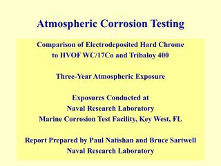 Atmospheric Corrosion Testing