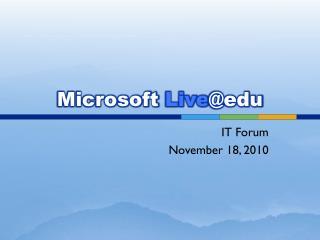 Microsoft  Live @edu