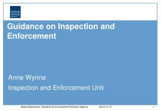Guidance on  Inspection and Enforcement