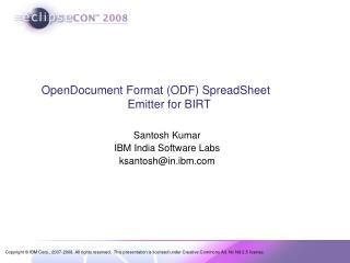 OpenDocument Format (ODF) SpreadSheet 		     Emitter for BIRT