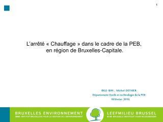 IBGE- BIM ,   Michel  DETHIER D�partement Outils et technologie de la PEB       18 f�vrier  2010.