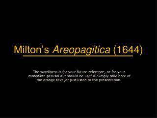 Milton's  Areopagitica  (1644)
