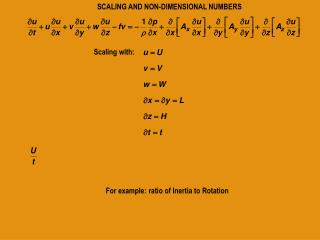 SCALING AND NON-DIMENSIONAL NUMBERS