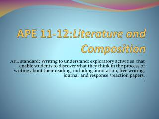 APE 11-12: Literature and Composition