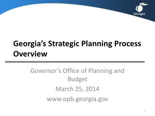 Georgia�s Strategic Planning Process Overview