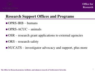 Research Support Offices and Programs