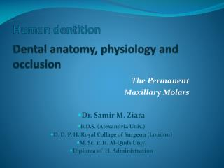 Human dentition Dental anatomy, physiology and occlusion