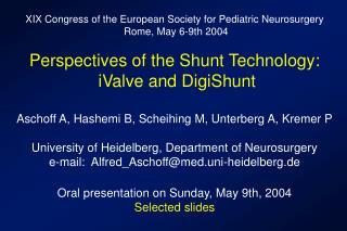 XIX Congress of the European Society for Pediatric Neurosurgery  Rome, May 6-9th 2004