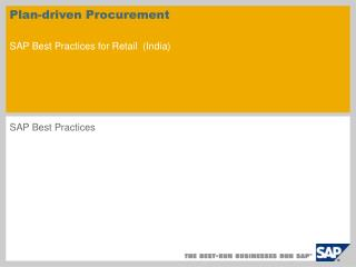Plan-driven Procurement SAP Best Practices for Retail ( India )