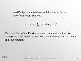 AWB's Spectrum Analyzer and the Fourier Series waveform reconstruction...